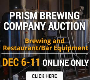 This online-only auction is your chance to acquire brewing and restaurant/bar equipment! The auction begins on Wednesday, December 6th at 3:00 PM and ends Monday, December 11th at 12:00 PM. The equipment comes from the recently closed Prism Brewing Company and is currently located at 624 East Main Street, Lansdale, PA. Complete list of equipment is available on our website. This auction is online bidding only.